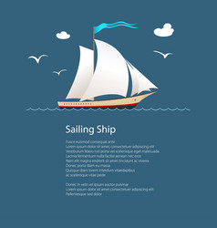 Yacht at sea and text vector
