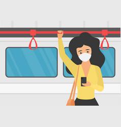 Young girl in mask in subway coronavirus vector