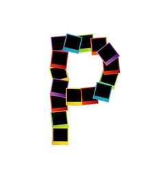 Alphabet P with colorful polaroids vector image