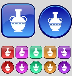Amphora icon sign A set of twelve vintage buttons vector image