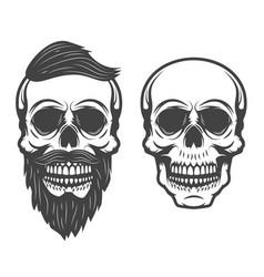 bearded skull isolated on white background vector image vector image