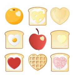 breakfast love icons vector image vector image