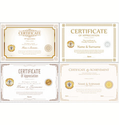 certificate collection retro design vector image vector image