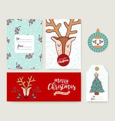 christmas card template holiday deer cartoon set vector image vector image