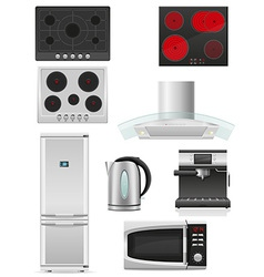 set of kitchen appliances 02 vector image vector image