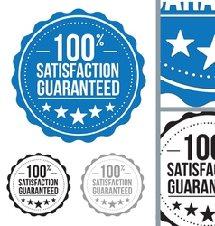 blue satisfaction guaranteed seal stamp design vector image vector image