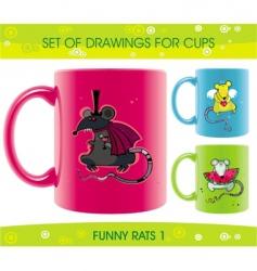 cartoon cups vector image vector image