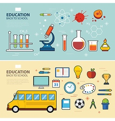 education and back to school banner concept flat d vector image vector image