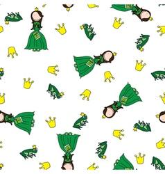 Frog prince pattern vector image