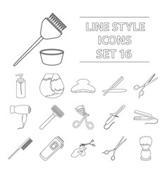 hairdresser set icons in outline style big vector image