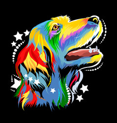 Image of a dog in the style of pop art vector