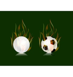 soccer balls in fire flame vector image