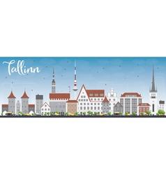 Tallinn Skyline with Gray Buildings vector image vector image
