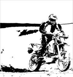 cross bike silhouette vector image vector image