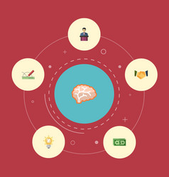 flat icons design bulb mind and other vector image