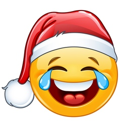 tears of joy emoticon with santa hat vector image vector image