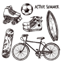 Active Recreation Sketch Set vector image vector image