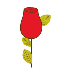 colorful drawing red rosebud with leaves and stem vector image vector image