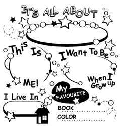Coloring Page All about me Editable vector image