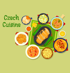 czech cuisine traditional dishes icon design vector image vector image