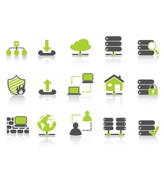 green network server hosting icons vector image