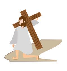 jesus christ falls first time - via crucis station vector image