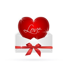 red heart in envelope with ribbon gift vector image vector image