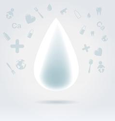 White glowing milk drop vector image vector image