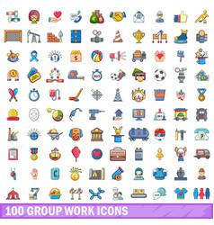 100 group work icons set cartoon style vector
