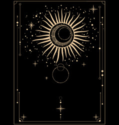 A board with magical gold ornament sun vector