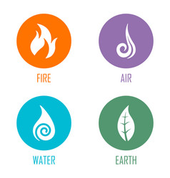 Abstract four elements symbols on circles vector