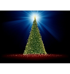 Abstract green christmas tree on red EPS 8 vector image
