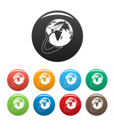 around the world icons set color vector image