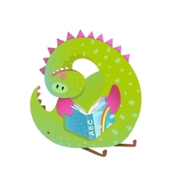Baby dragon reading book study cute cartoon vector image