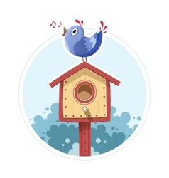 Bird sit and sing on nesting vector