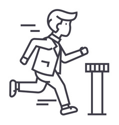 Businessman running to finish line icon vector