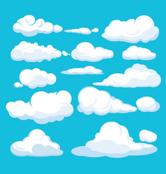 cartoon clouds blue sky aerial cloudscape blue vector image