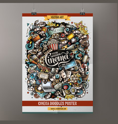 Cartoon doodles cinema poster template vector