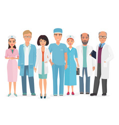 cartoon of group of doctors vector image