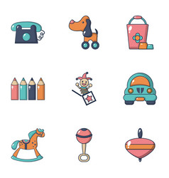Children toys icons set flat style vector
