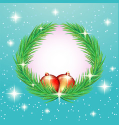 christmas fir wreath with red balls vector image