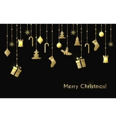 Christmas greeting card with gold christmas toys vector