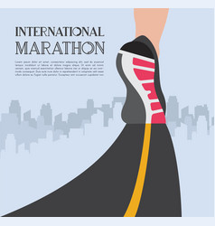 city running marathon athlete runner feet running vector image