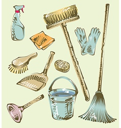 Cleaning service sketch design elements vector