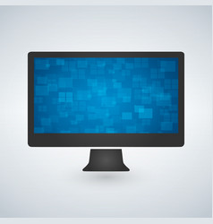 Computer monitor with a blue futuristic wallpaper vector