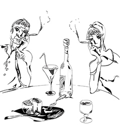 Couple Drinking Wine vector image