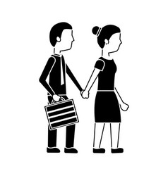 couple holding hands walk with briefcase vector image