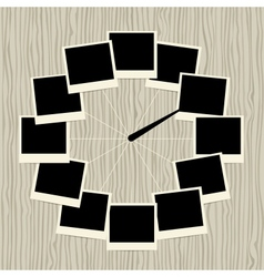 Creative clock design with photo frames vector image