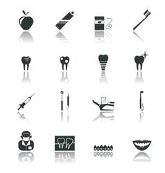 Dental icons black vector image