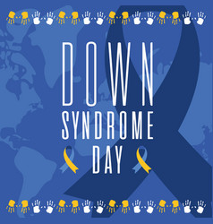 Down syndrome day ribbon on world map background vector